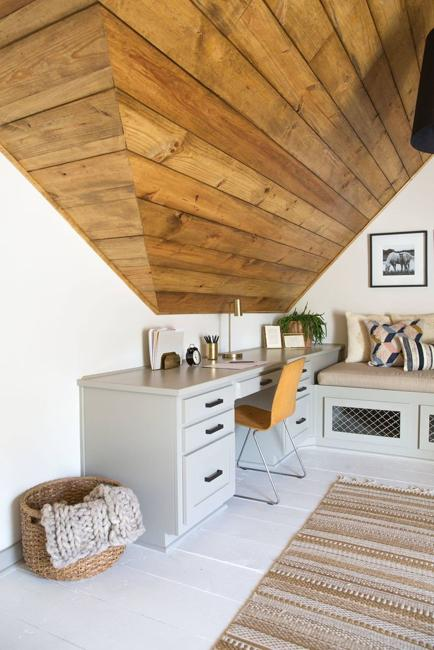 small kitchen with wood ceiling