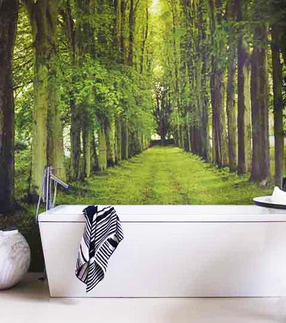 Digital Wallpapers For Bathroom Walls, Green Forest Theme
