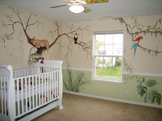 Romantic Kids Room Design, Trees for Decorating Empty Walls