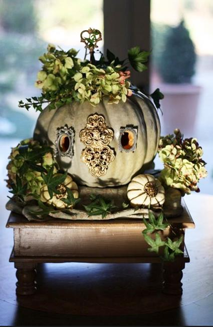 pumpkin with ivy plant