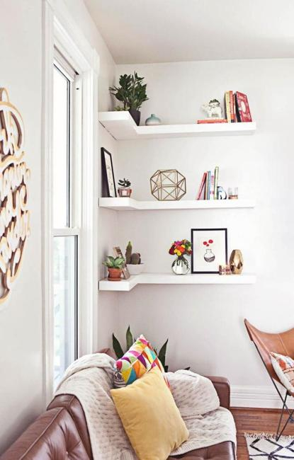 storage shelves for books and accents