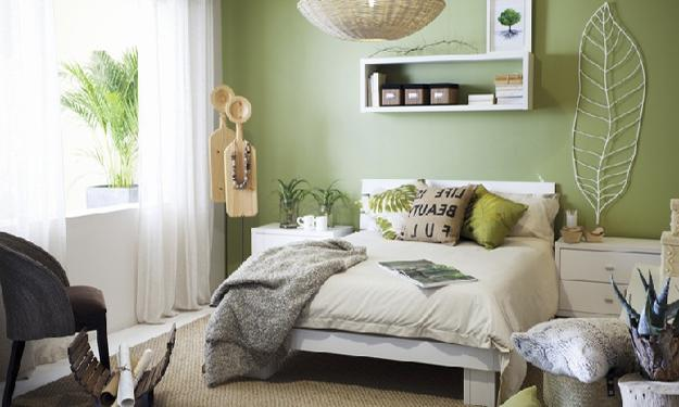 bedroom decorating green wall paint