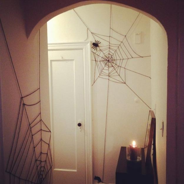 door with spider web