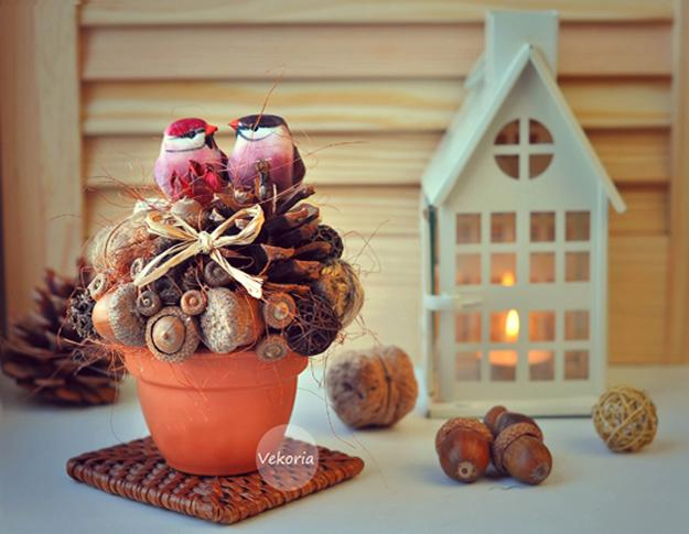 Acorn centerpieces and eco accents fall crafts