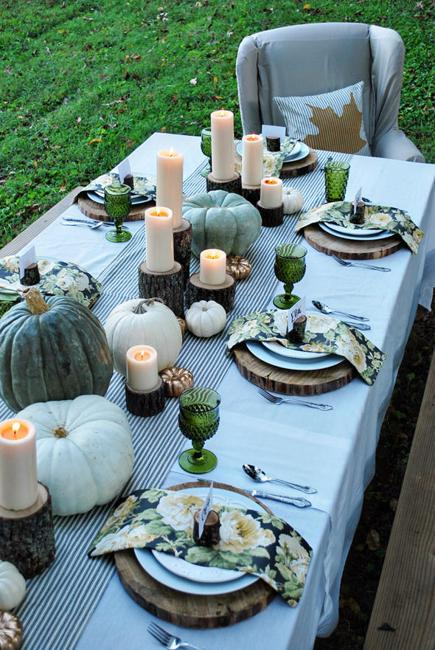outdoor table setting in fall