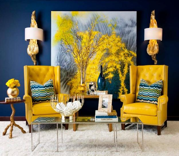 yellow chairs wall art