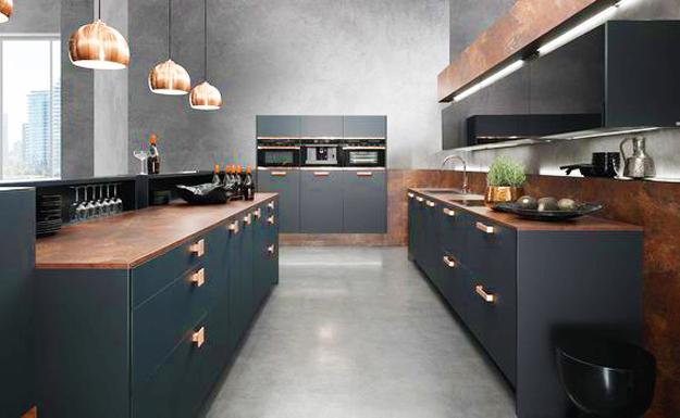wood copper kitchen accent design | Stylish Copper and Bronze Colors, Metal Accents Enhancing ...