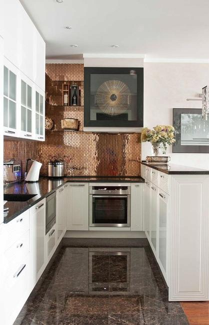 Stylish Copper And Bronze Colors Metal Accents Enhancing Beautiful Kitchen Designs