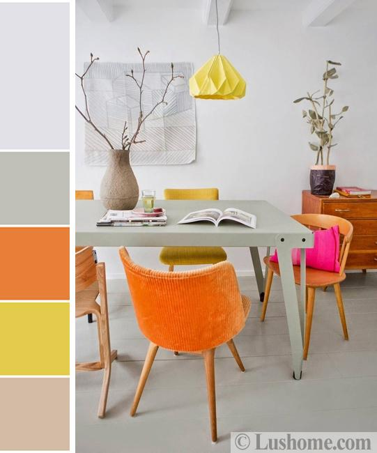 vibrant room colors for dining area