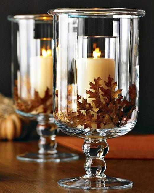 Fall Leaves And Candles Make A Pretty Duo For Decorating