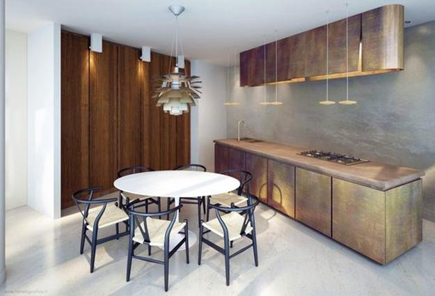 Bronze And Golden Accents Giving Modern Kitchen Designs