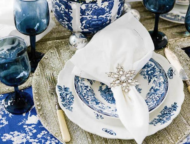 Indigo Blue Christmas Colors Table Decorations And