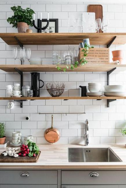 Beautiful Wooden Shelves in Modern Kitchens, Simplified ...