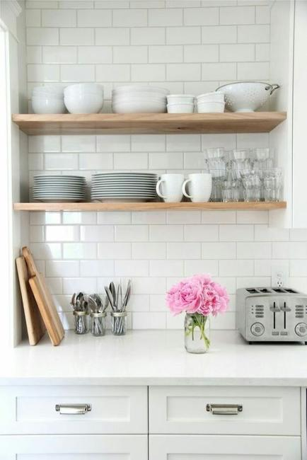 open wall shelves kitchen