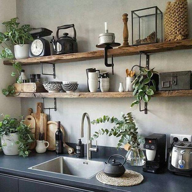 Beautiful Wooden Shelves In Modern Kitchens Simplified