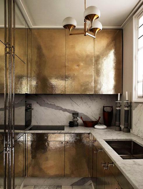 Golden Kitchen Cabinets And Backsplash Ideas Giving ...