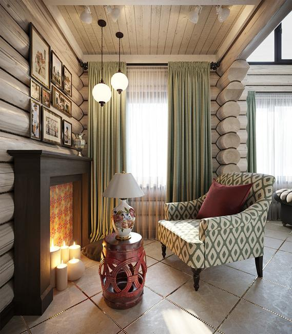 log house fireplace and chair