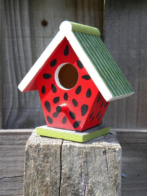 handmade yard decorations painted birdhouse