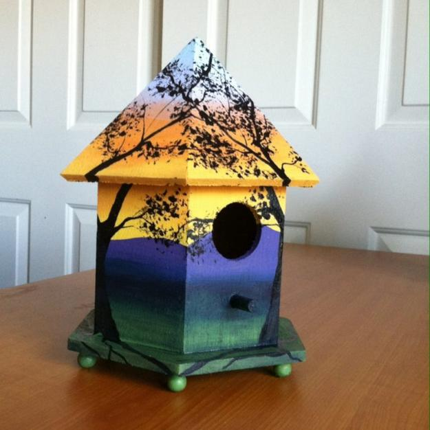 Colorful Painting Ideas For Handmade Birdhouses, Fun Yard
