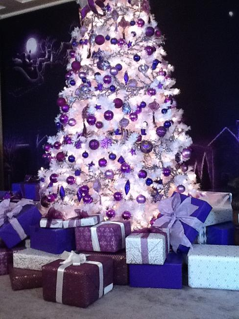 blue and purple decorations for winter holiday tree