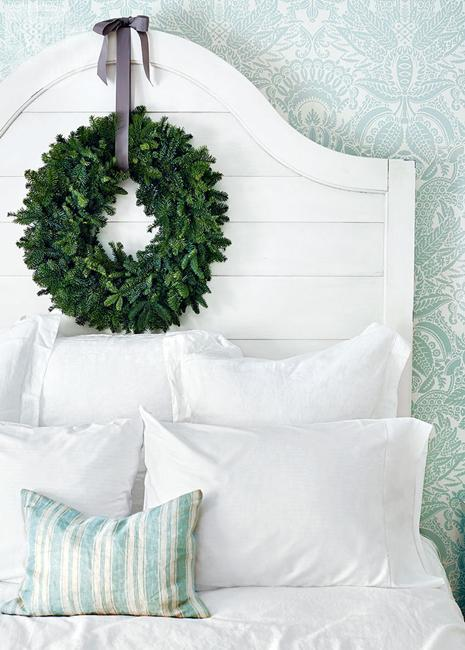 Bedroom Decorating For Christmas Turquoise And White Bedding Green Wreath