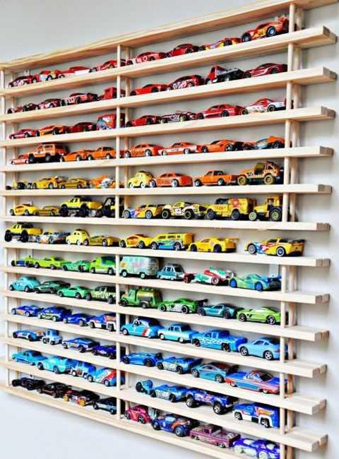 Wall Decorating With Toy Cars Kids Storage And Organization Ideas