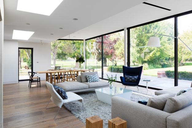 astounding glass wall living room design | Advanced Smart Glass, Wall Design in Modern Architecture