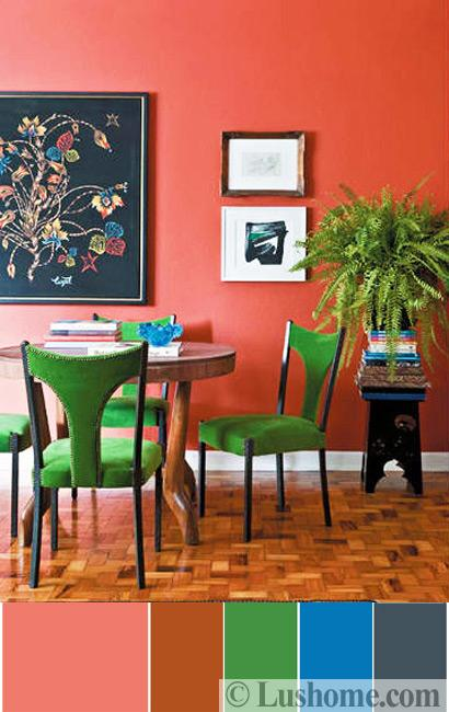 wonderful pink green living room color schemes | Modern Coral Pink Color Schemes, Ready to Use Color ...