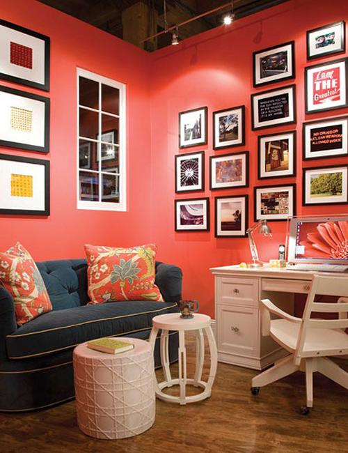 Modern Coral Color In Interior Design And Decorating
