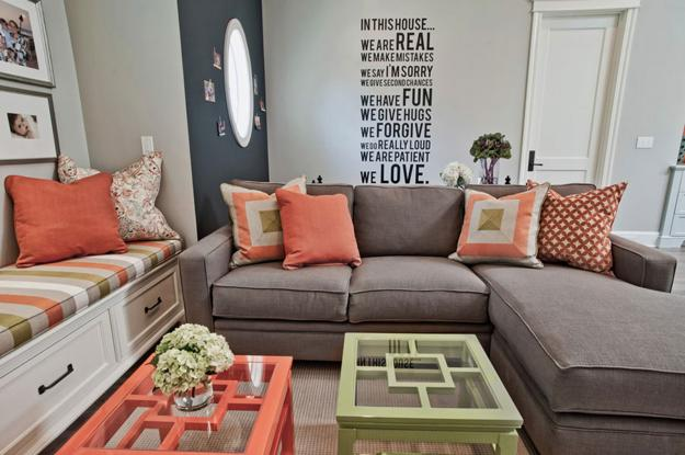 Modern Coral Color In Interior Design And Decorating Matching Room Colors