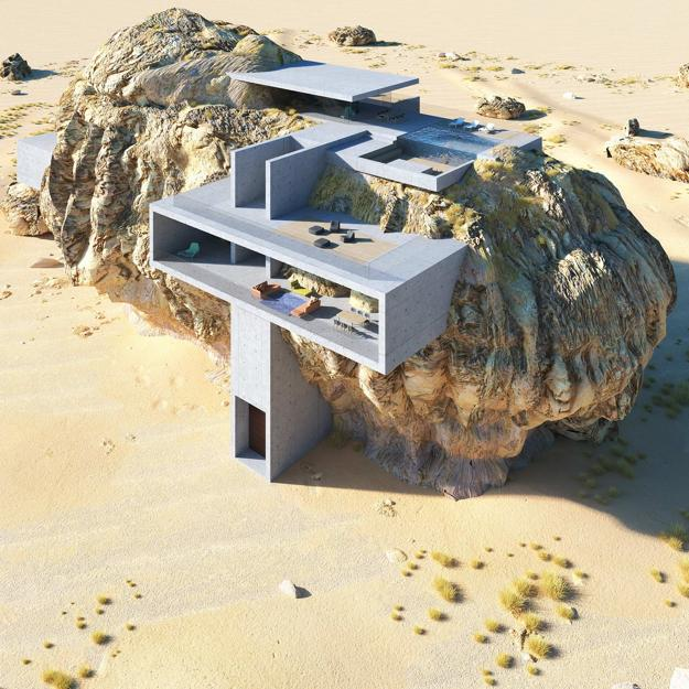 contemporary home built on boulder