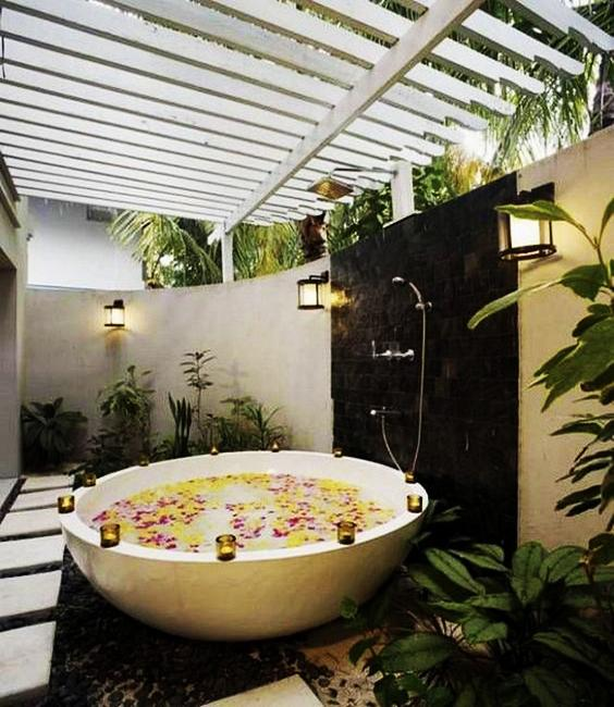 Beautiful Outdoor Bathroom Design, Charming And Soothing