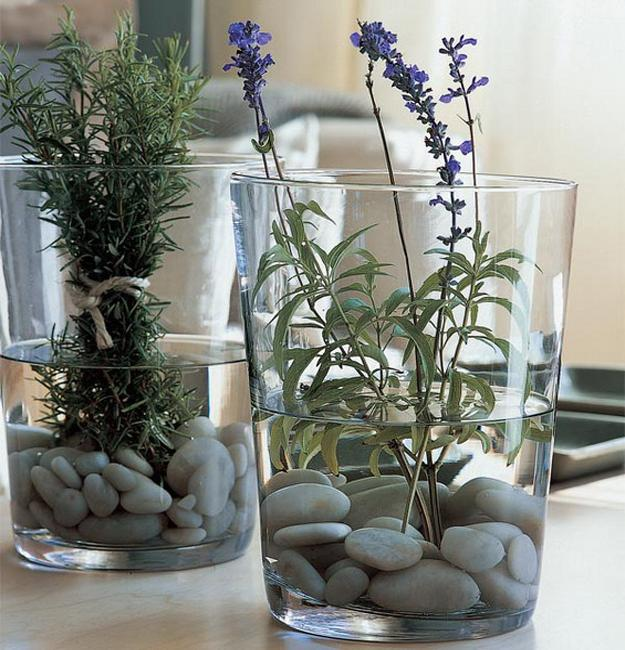 herbs and pebbles for table decoration