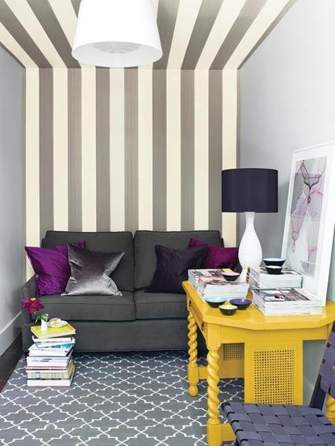 black and white room with yellow and purple accents