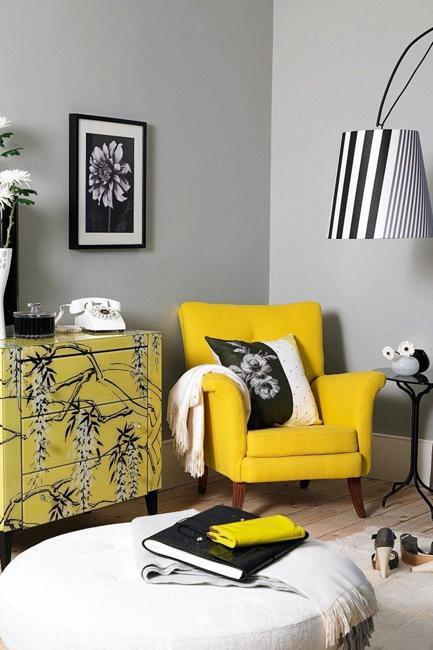 living room furniture yellow chair