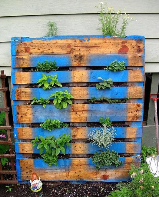wood frame for herbs garden