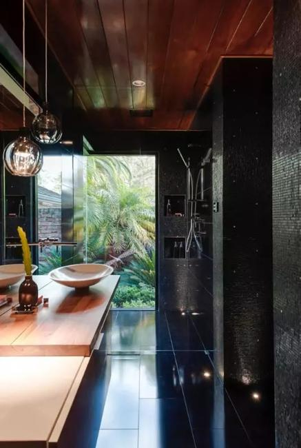 Dark Ceiling Designs In Modern Kitchens And Bathroom Interiors