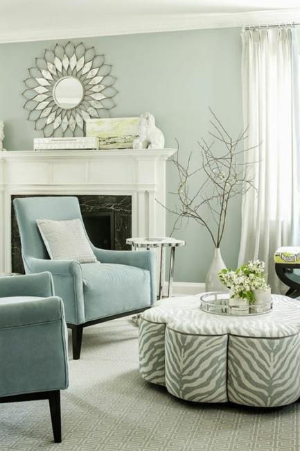 white and blue living room colors