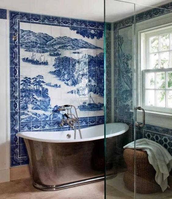 blue white wall tiles