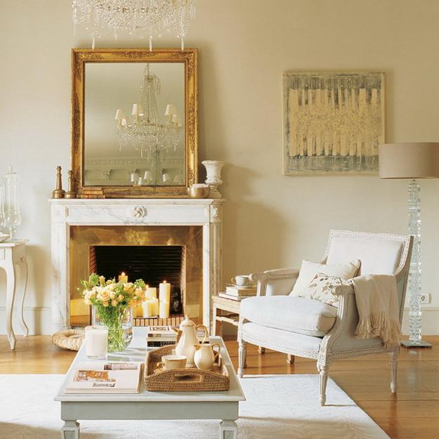 golden mirror frame fireplace decorating
