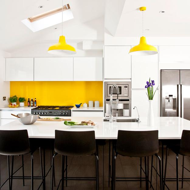 Golden Boys And Me Fall Kitchen Living Room: Bright Yellow And White Decorating Ideas, Sunny Color