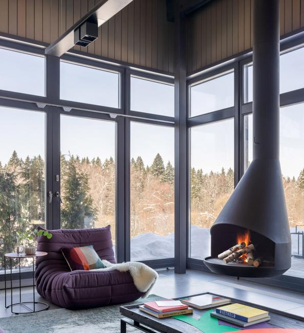 large window fireplace