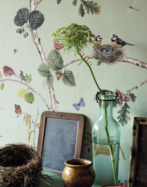 beautiful floral wallpaper with birds