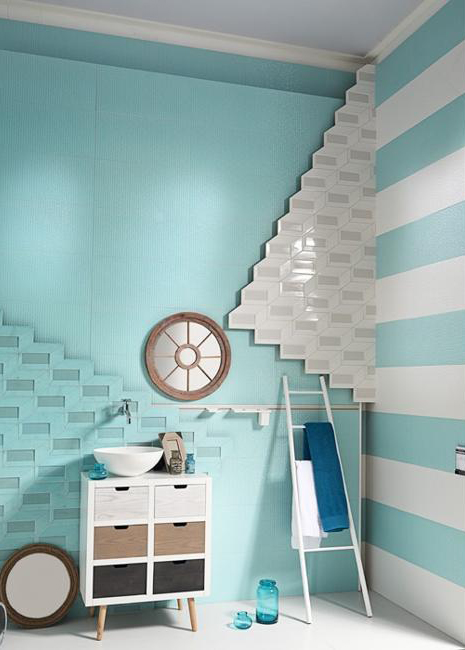 3d wall tiles in blue and white