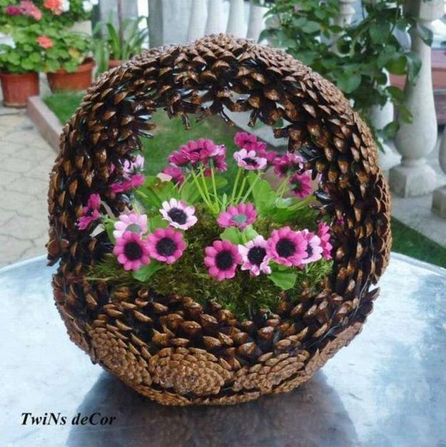 Home Design Ideas Handmade: DIY Pinecone Baskets, Table Centerpiece Ideas For