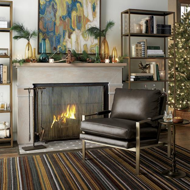 fireplace decorating with green branches