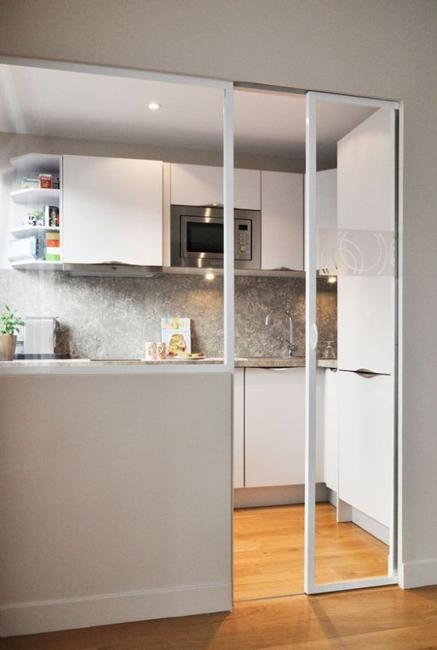 white kitchen cabinets glass room divider