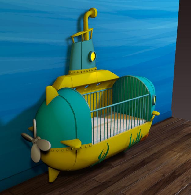 submarine crib painted yellow blue