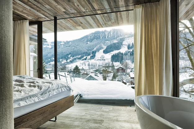 glass wall bedroom design