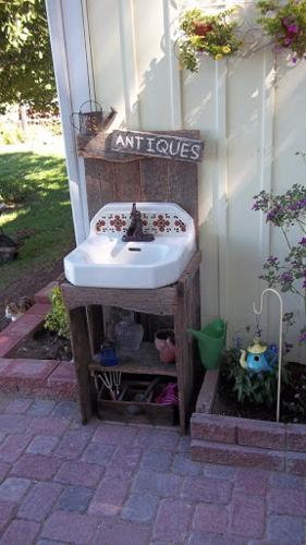 antique white sink
